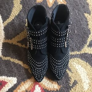 Black Booties with Studs and buckles